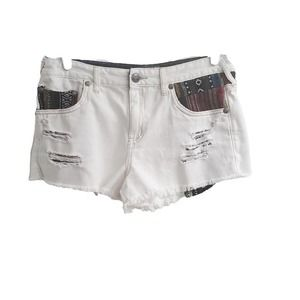 Free People Distressed Aztec Fabric Jean Shorts